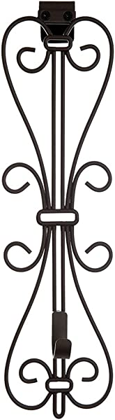Front Door WREATH HANGER Elegant Design ADJUSTABLE Hook Length For Tall And Small Doors PADDING To Prevent Damage Like Scratch And Dents Heavy Duty Cast Iron Metal Hangar Brown