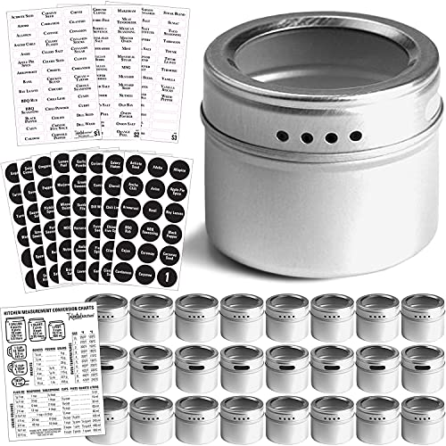 Talented Kitchen 24 Magnetic Spice Tins and 2 Types of Spice Labels. 24 Storage Spice Containers, Magnetic Spice Jars with Window Top and Sift-Pour. 240 Preprinted Spice Stickers. Spice Rack On Fridge