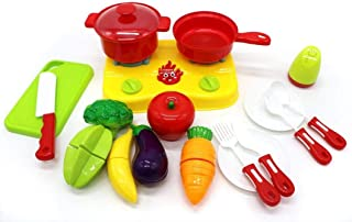 Fruits Vegetables Little Chef Play Set Pretend Cooking Toy Set Toddlers Best Gift Boys Girls Double Burner Cooker, Frying Pan, Pot Utensils Ages 3+