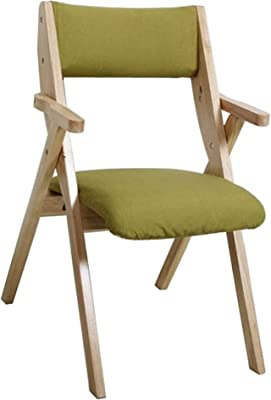 Folding Dining Chair Home Back Chair Study Lounge Chair Training Conference Chair Cotton seat (Color : Green, Size : 49x46x83cm)