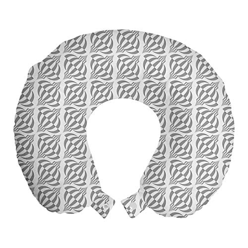 ABAKUHAUS Jahrgang Reisekissen Nackenstütze, Diagonal Chinesische Laternen, Schaumstoff Reiseartikel für Flugzeug und Auto, 30x30 cm, Pale Taupe und Weiß