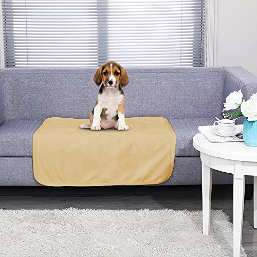 fuguitex Waterproof Dog Blanket Dog Mat Pad Rug for Bed Fleece Pet Blanket Bed Cover for Dog Throw Blanket for Couch Sofa(30″ 30″,Sand+Beige)