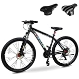 Sirdar S-800 29 inch 27 Speed Mountain Bike Double Disc Brake Full Suspension Fork, Aluminum Alloy and High Carbon Steel Bicycle with 2 Replaceable Saddle for Men Women Youth Adults