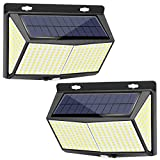 288 LED Solar Lights Outdoor 2 Packs, Exterior Solar Powered Lights Security Motion Sensor Lights with 3 Lighting Modes, 270° Wide-Angle, IP65 Waterproof Wireless for Outside Wall Fence Yard Garage