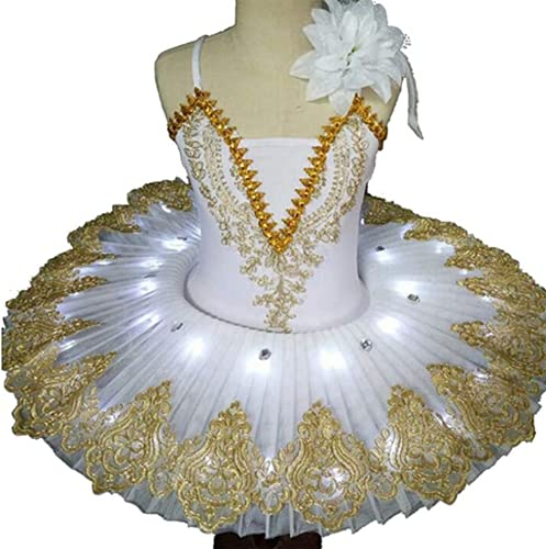 Vestido de Ballet con luz LED para nios, Disfraz de Ballet para nias del Lago de los cisnes, Vestido de Bailarina, tut, Ropa de Baile, Disfraces de Fiesta en el Escenario,Blanco,130