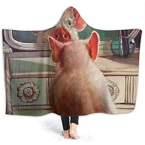Henry Anthony Nettes lustiges schönes Schwein-Ultra weicher Flanellvlies-Wurfs-Decken-Hoodie für Couchsofa und Bett 50x40 Zoll