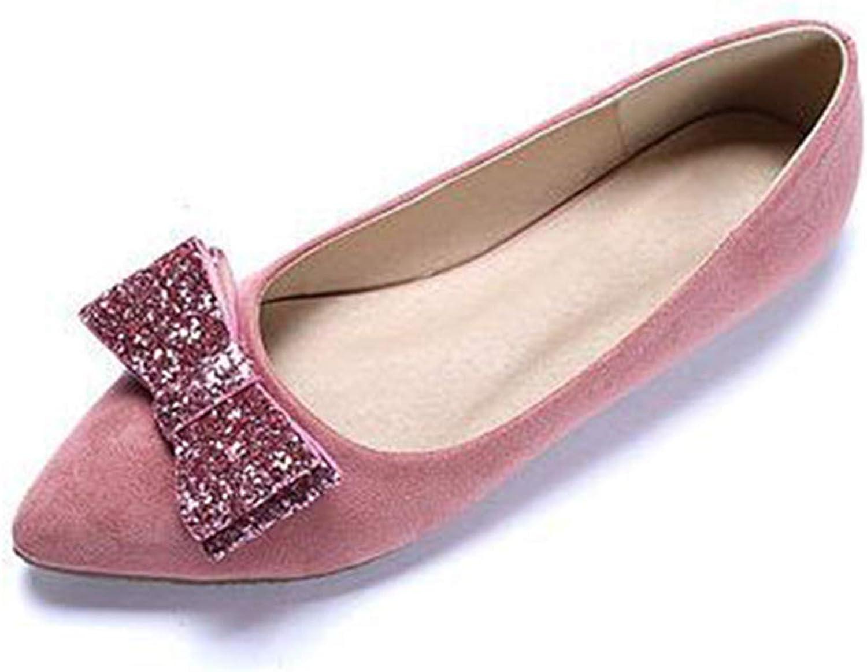 JOYBI Women Fashion Pointed Toe Loafers Flock Bling Bows Comfort Slip On Wedding Casual Flat Dress shoes