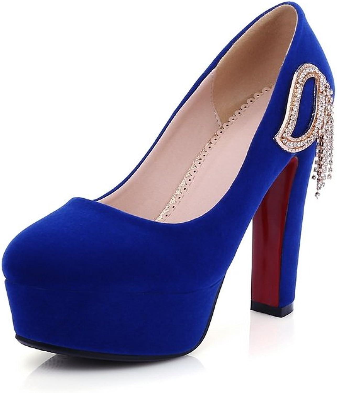 AdeeSu Womens No-Closure Chunky Heels Rhinestones Dance-Ballroom Suede Pumps shoes SDC03813