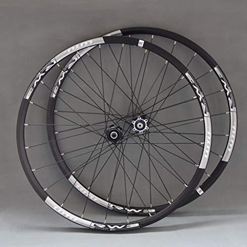 Ruedas MTB 26 / 27,5 pulgadas del freno de disco de aluminio llantas de aluminio de 10 velocidades casete del buje del eje del barril QR convertible White Label (rueda de la rueda delantera + trasera)