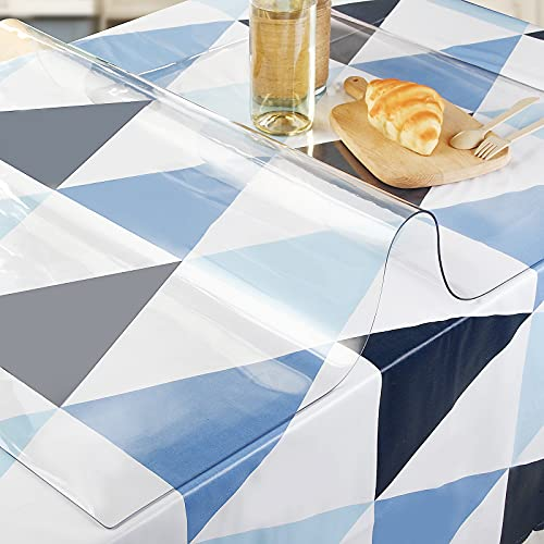 SPEEDSPORTING Glasklar Folie 2 mm dick Tischfolie transparent mit Abgerundete Ecken/Tischdecke wasserdicht Tischschutz PVC Folie Schutzfolie - Schutztischdecke Tischschutzfolie (60x100cm)