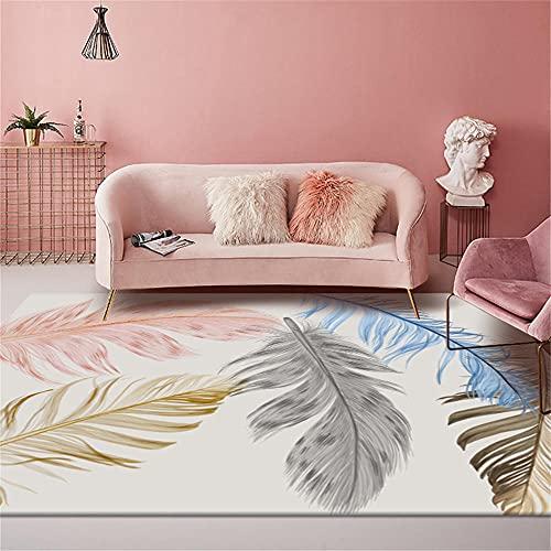 Tapeti Per Soggiorno Moderni Tappeti Per Camerette Tappeto per bambini rettangolo con stampa di piume grigio-rosa, resistente e dal colore veloce Tappeti Per Cani 120X180cm