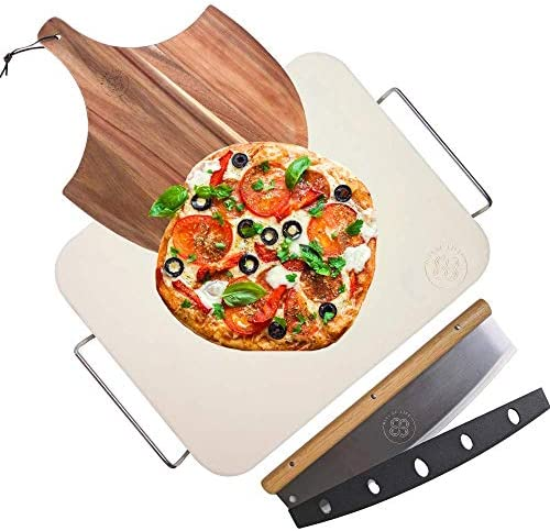 Ritual Life Pizza Stone for Oven and Grill with Wooden Pizza Peel Paddle and Pizza Cutter Rocker product image