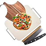 Ritual Life Pizza Stone for Oven and Grill with Wooden Pizza Peel Paddle & Pizza Cutter Rocker...