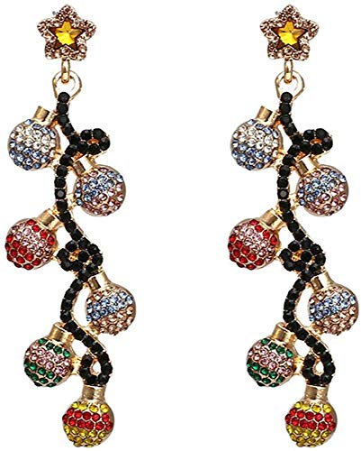 ZHENAO Ladies Handmade Earrings Vintage Baroque Colored Rhinestone Ball-Shaped Earrings for Woman Party Lady Statement Earrings Decorations