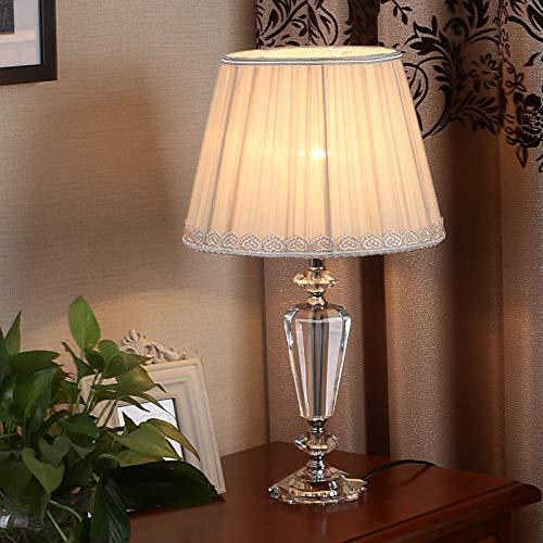 Lampada da Tavolo in Cristallo, moda camera da letto lampade in cristallo moderno comodino soggiorno illuminazione lampada da tavolo panno 3 anni blu matrimonio-beige_gauze