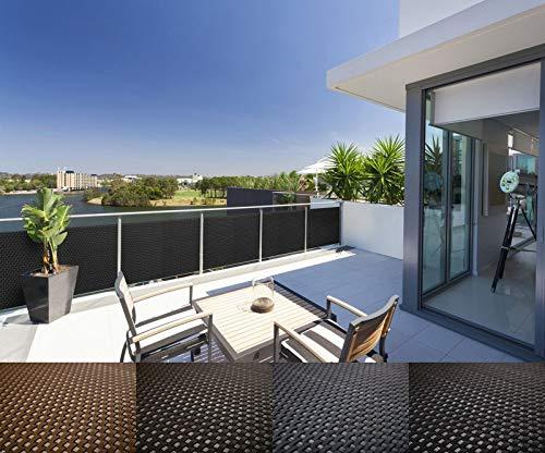 Mayaadi Home Rattan Balkon und Terrassen-Sichtschutz inkl. Kabelbinder für eine einfache Montage (Meterware) Hellgrau RD17 100cm