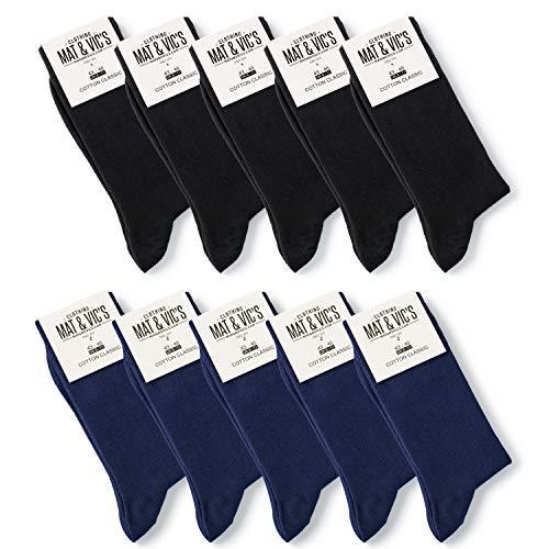 10 Paar Socken von Mat & Vic's für Sie und Ihn - Cotton classic bequem ohne drückende Naht - angenehmer Komfort-Bund - OEKO-TEX Standard 100 (43-46, Business Colors) 43-46