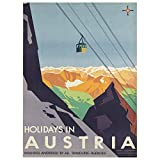 Wee Blue Coo Austria Travel Ski Lift Alpine Large Wall Art
