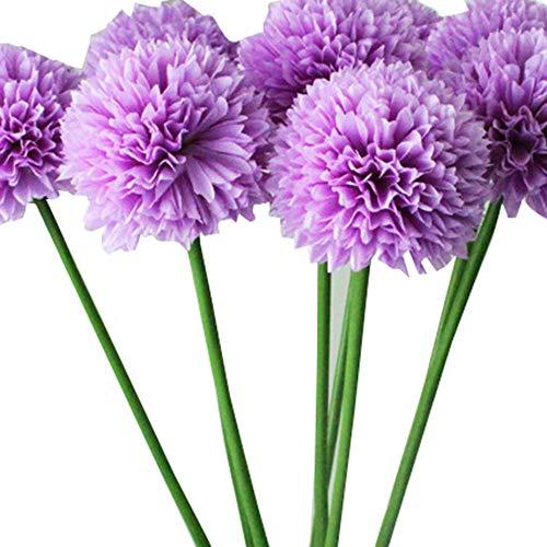 YSFWL Künstliche Seide Rosen Parteidekor Bulk Kunstblumen 5pcs Lavendel Ball Seide Blumen Blumenstrauß Home Hochzeit Dekoration Künstliche Fake Blume (Lila)