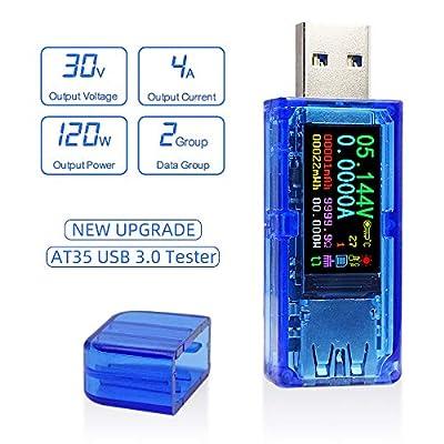 AT35 USB 3.0 Tester USB Power Meter 3.7-30V 0-4A Voltage Tester Multimeter USB Current Meter Tester IPS Color Display Voltmeter Ammeter 0.0001 Precision USB Charger Tester