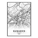 guatan Leinwand Bild,Syrien Damaskus Stadt Karte Drucken