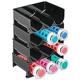 mDesign lot de 4 range-bouteilles en plastique – casier à vin empilable et modulable pour stockage de 3 bouteilles de vin et d'eau par unité – aménagement pratique de la cave et la cuisine – noir
