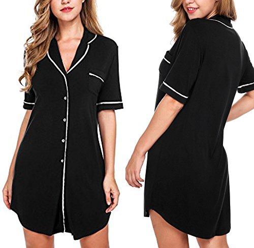 Dickin Women's Soft Short Sleeve Nightgown Loungewear V-neck Sleep Shirt Dress (Black L)