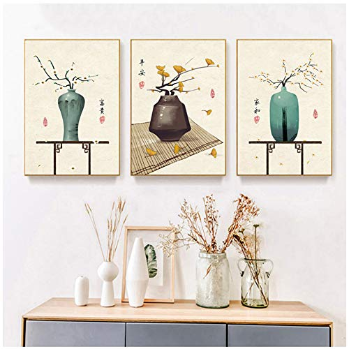 Muurkunst canvas HD-prints beelden Chinese retro vaas schilderij huis decoratie Nordic stijl poster 60x80 cm/23.6