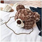 Shoulder Bag Cartoon Faux Fur Teddy Bear Head Handbag for Girl Kid Cute Toy Bag