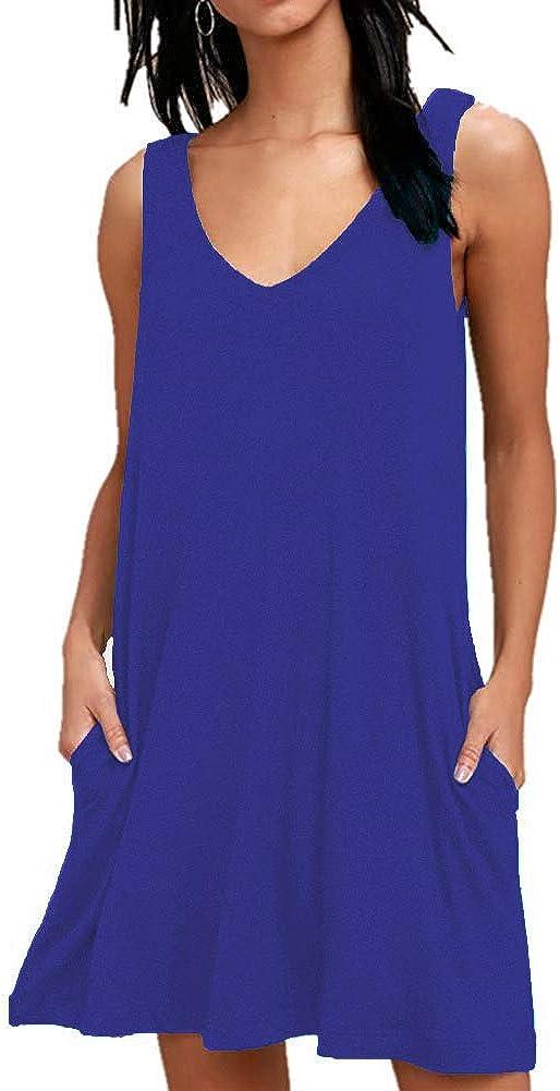 AUSELILY Women Summer Casual T Shirt Dresses Beach Cover up Plain Tank Dress