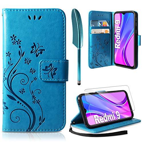 AROYI Funda Xiaomi Redmi 9 & Protector de Pantalla, Relieve Dibujo Carcasa de Tipo Libro Soporte Plegable Ranuras para Tarjetas Magnético Ultra-Delgado Carcasa Case para Xiaomi Redmi 9 (Azul)