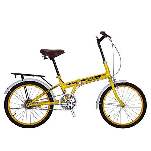 YEARLY Klapprad Damen, Erwachsene klappräder Single Speed Stadt Student Männer und Frauen fahrräder Klappräder-Gelb 20inch
