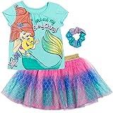 Disney Little Mermaid Princess Ariel Toddler Girls T-Shirt Tutu Skirt Scrunchy Set 2T