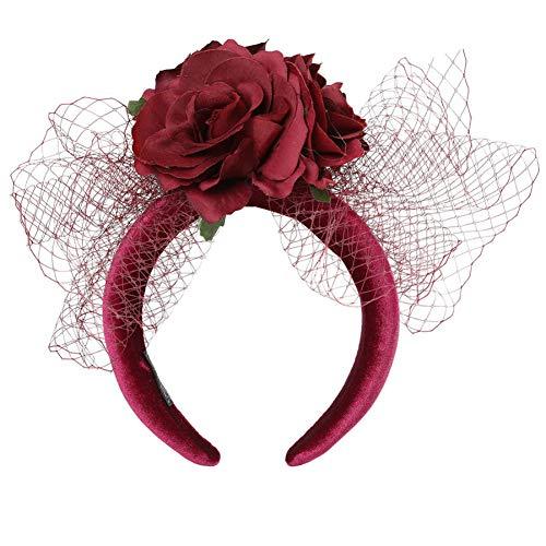 JINGMO Populaire Rembourré Hiver Cheveux Hoop Rose Fleur pour Les Femmes Halloween Festival Coiffe Couleur Unie Dentelle Cheveux Accessoires