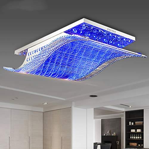 Modern K9 Crystal Ceiling Light with Remote Control,4-Color LED Lamp Lighting Fixture Chandelier for Livingroom,Foyer,Bedroom