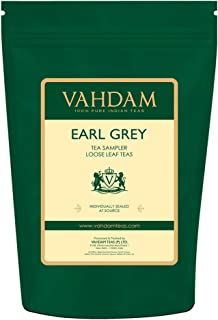 VAHDAM, Earl Grey Tea Sampler (5 TEAS, 50 Cups) Black Tea, Green Tea, Oolong Tea, White Tea, Chai Tea blended with Natural Bergamot Oil, Tea Variety Pack, Bergamot Tea, Loose Leaf Tea, Tea Gift Set