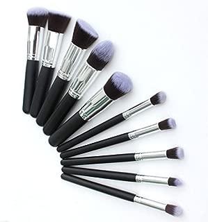 sQUARED Makeup Brushes Set Tool Pro Foundation Blending Blush Eyeliner Face Powder Brush Kit (Silver Black Grey)