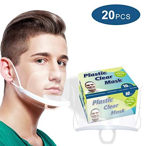 HXHU Gesichtsschutzschirm aus Kunststoff – Plexiglas Schutzmaske vor Staub, Speichel etc. für das Gesicht – effektiv & hygienisch (20 Stück)