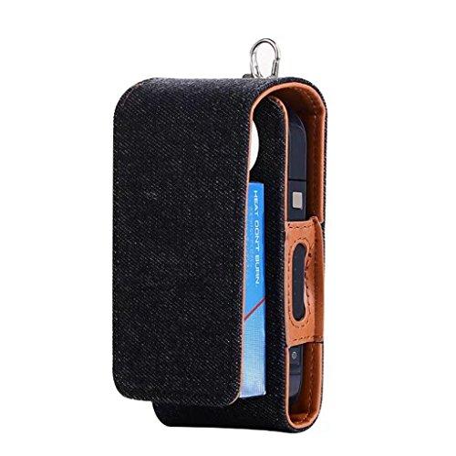 Custodia protettiva completa per sigaretta elettronica iQOS, in similpelle e jeans Black