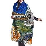 Calabaza Whimsical Wolf Bear Tocar Guitarra Violín Bufandas de cachemira para mujer Moda Grandes chales cálidos Idea de regalo Chales d