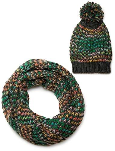 styleBREAKER Schal und Mütze Kombi Set, Grobstrick Loop Schlauchschal mit Strick Beanie Mütze 01018201, Farbe:Anthrazit-Grün