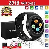 Montre Connectée,Bluetooth Smartwatch Soutenir SIM/TF Carte,Ecran Tactile Sport Pédomètre,Sommeil,caméra,Alarme,Anti-Perdu Moniteur de Bracelet pour Huawei Samsung Sony Android Adult Enfant -Noir