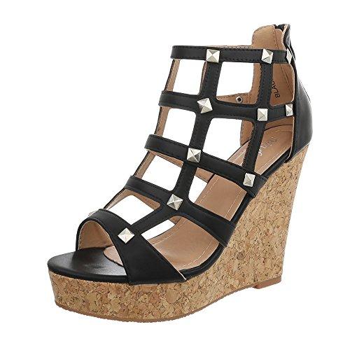 Ital-Design Keilsandaletten Damen-Schuhe Keilabsatz/Wedge Keilabsatz Reißverschluss Sandalen & Sandaletten Schwarz, Gr 40, 6661-