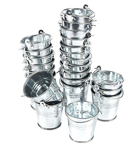 24-Pack Small Metal Buckets - 2-Inch Silver Mini Pails with Handles, for Party Favors, Candy, Votive Candles, Trinkets, Small Plants