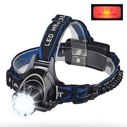 Roadwiz LED Kopflampe Kopflampe USB Kopflampe Wiederaufladbar LED Kopflampe Super Hell Wasserdicht Zoombar 4 Modi Stirnlampen Wiederaufladbare XML-T6 für Camping Wandern Inklusive 18650 Akku