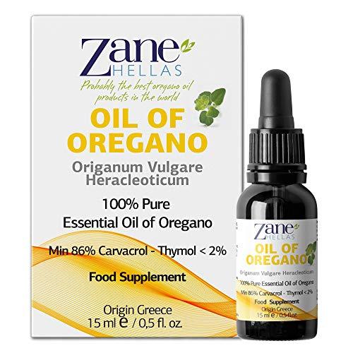 Zane Hellas 100% huile d'origan non diluée.Huile Essentielle Grecque Pure d'Origan.86% Min Carvacrol.129mg de carvacrol par portion.Probablement la meilleure huile d'origan au monde.15ml-0,5oz