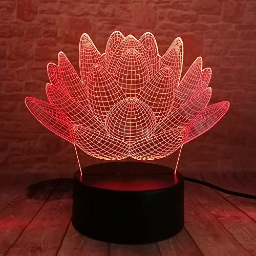 Luz nocturna 3D LED 3D, flor de loto, plantas suculentas, luz nocturna, 7 colores, regalo de Navidad, lámpara de ambiente para niños, niños, dormitorio o decoración del hogar