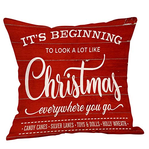 Christmas Decorations Throw Pillow Covers 45x45CM Cushion Pillow Cases Travel Pillow Protectors Home Bedroom Sofa Decor