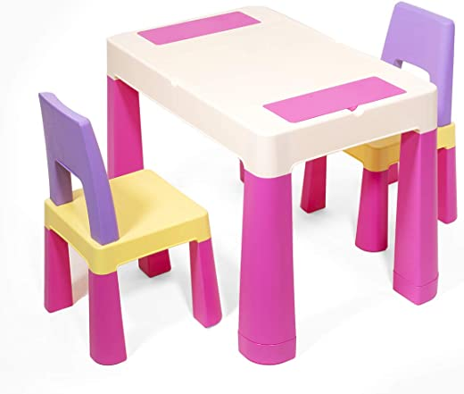 Kids' Furniture ✅ihubdeal Kids Activity 3-in-1 Table Building Blocks with (2) Chairs Set Table Craft Building Brick Table w/ Storage, Pink
