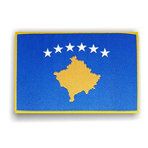 Generisch 2 x Kosovo Kosova Flagge Patch ca.8cm x 5cm Aufbügler Aufnäher mit Spezial-Klebstoff mühelosaufbügeln